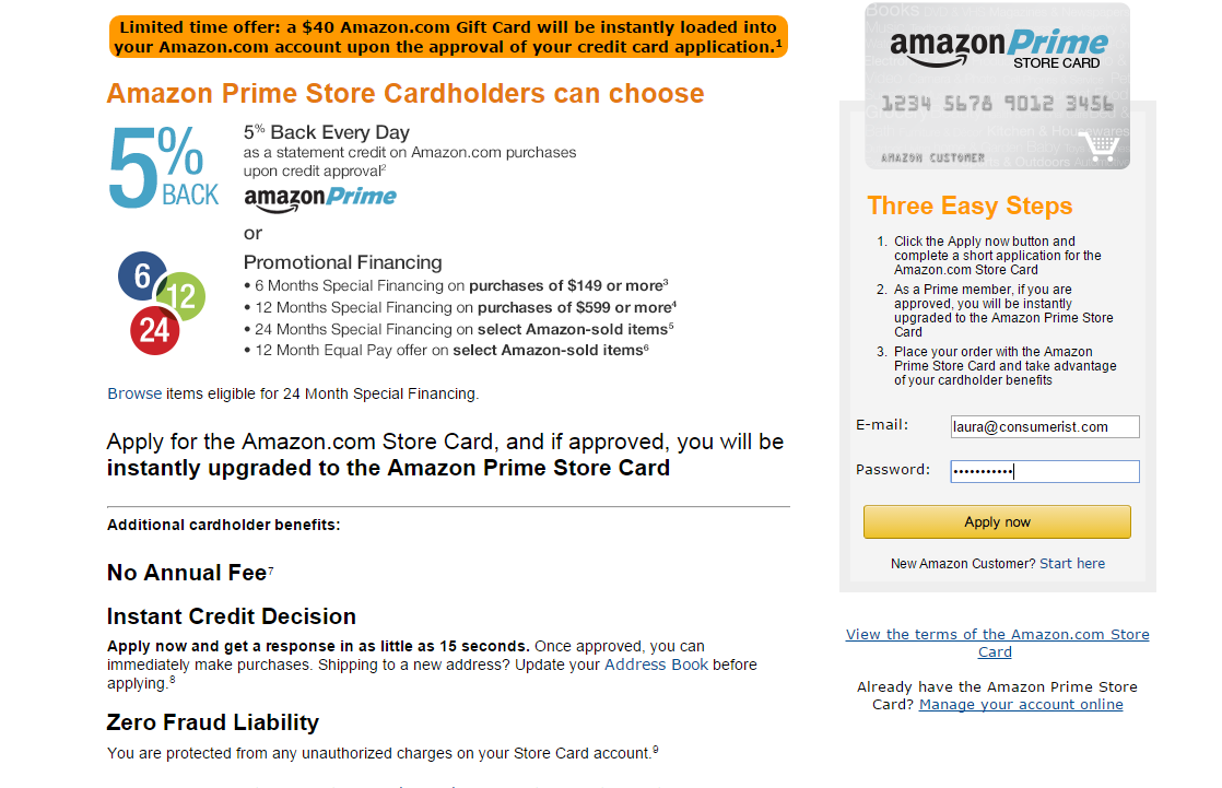 Amazon Adds 5% Cash Back For Prime Members To Store Credit Card