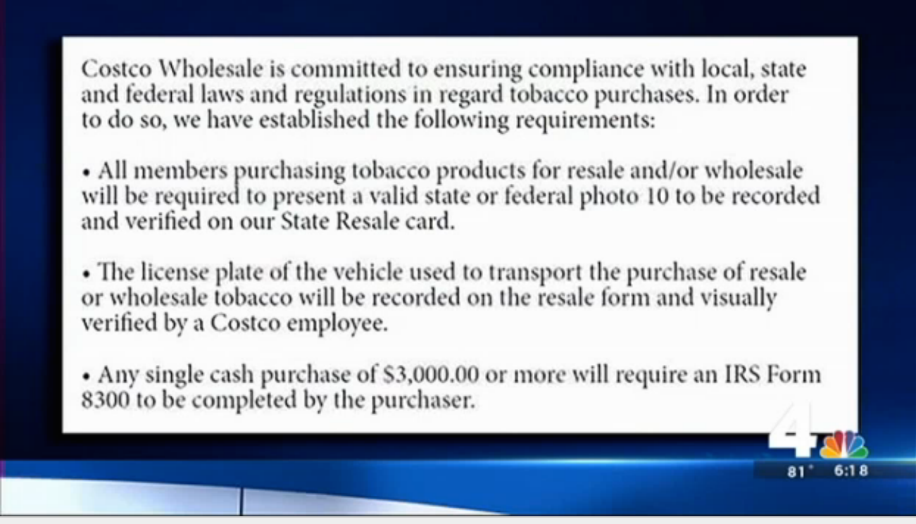 New signs at Virginia Costco stores remind shoppers that their bulk purchases of cigarettes will be scrutinized.