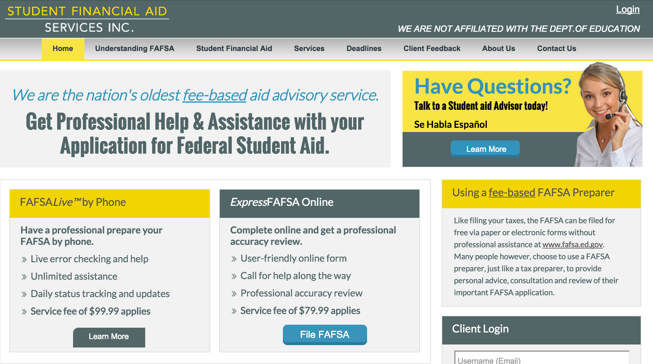 Here is what FAFSA.com looked like before the URL was handed over to the Dept. of Education.
