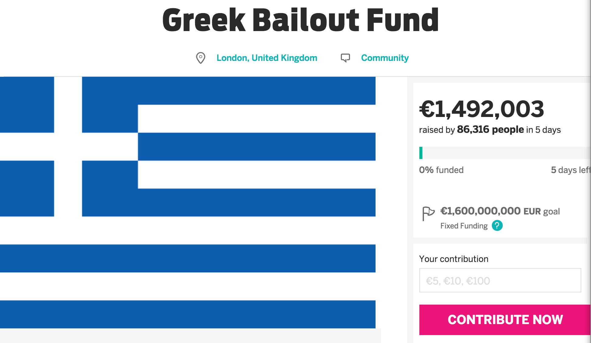Indiegogo Campaign To Bail Out Greece Has Raised $1.65 Million… Only $1.77 Billion To Go