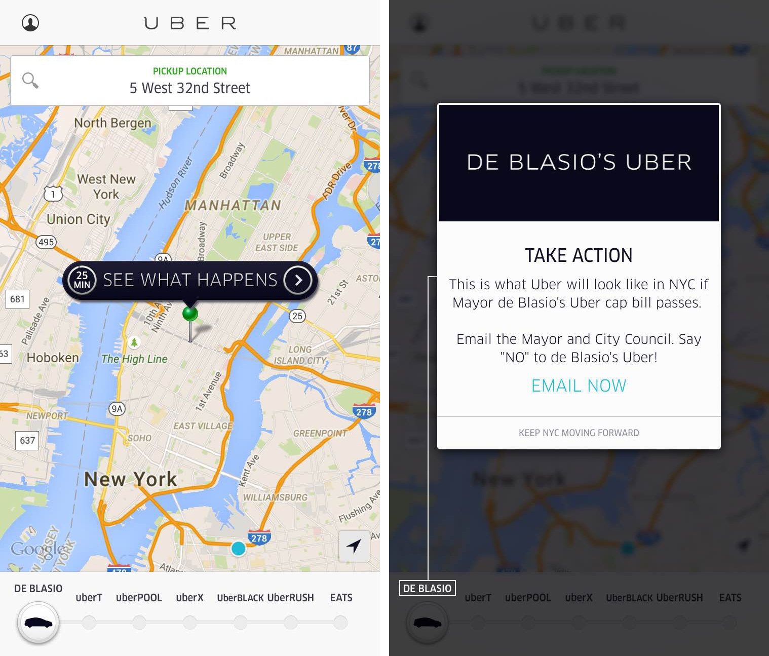 Uber's campaign against Mayor Bill de Blasio has spread to its ride-hailing app.