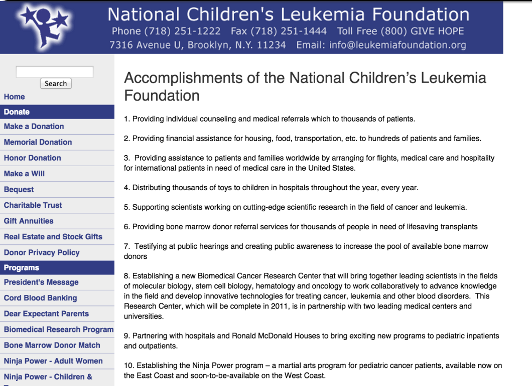 This archived page from the NCLF website shows the many programs and services that the Foundation claimed to operate. In reality, claims the state, the group was doing little to nothing to help fight leukemia.