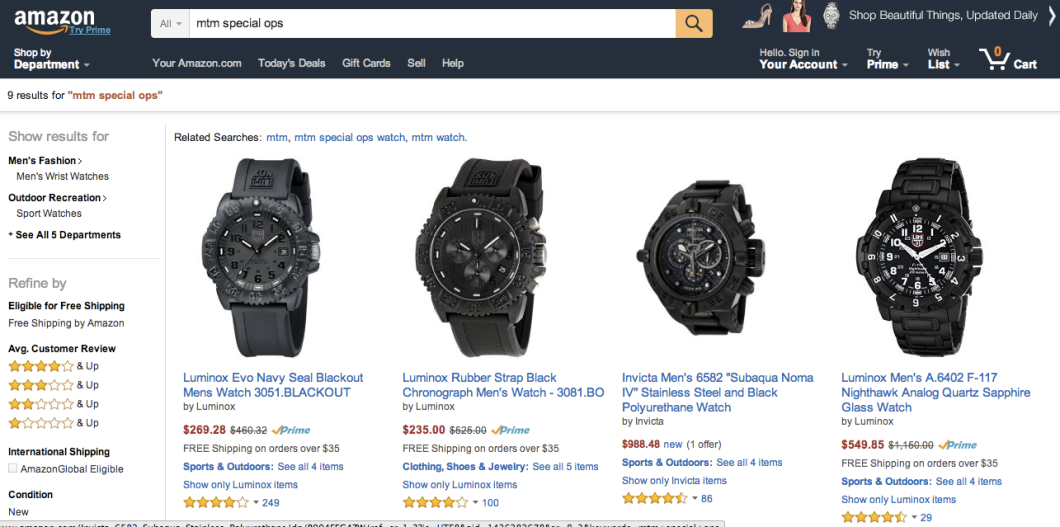"A recent search on Amazon for ""MTM Special Ops"" results in several other military-style watches."