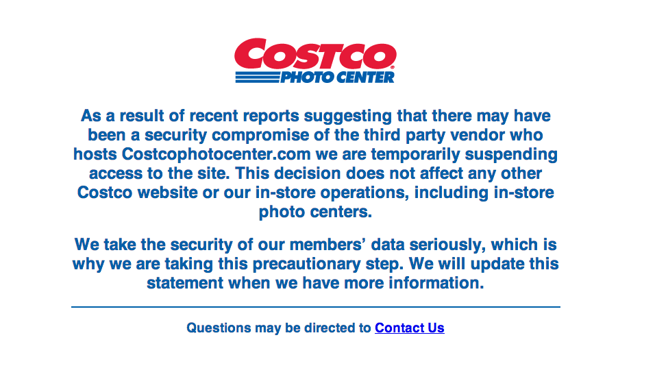 Costco, along with Rite Aid, Tesco's and Sam's Club, have suspended their photo center websites after a third-party vendor announced it was investigating a possible data breach.