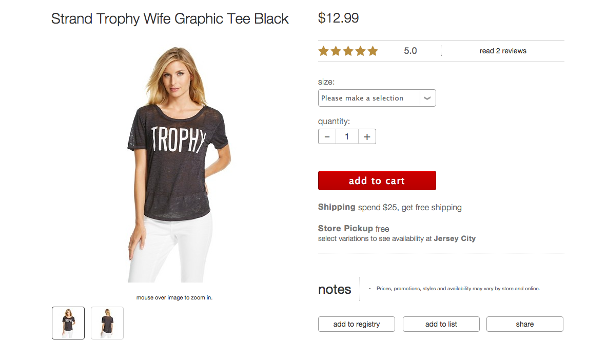 "Target Sorry People Are Offended By Its ""Trophy"" T-Shirt For Women"