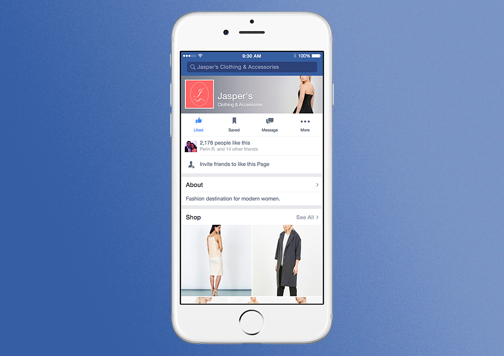 Facebook shows a fake brand in this mock-up.
