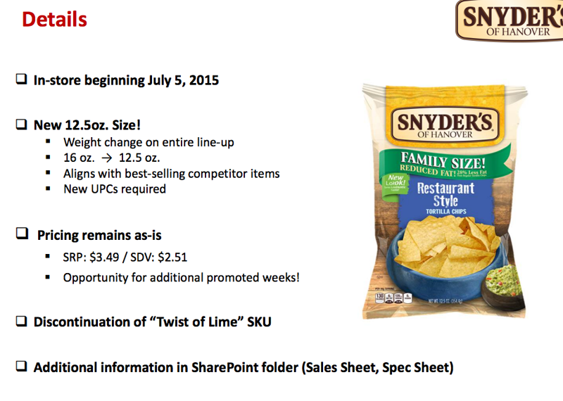 Snyder's Of Hanover Shrinks Tortilla Chip Bags By 3.5 Ounces To Fit In