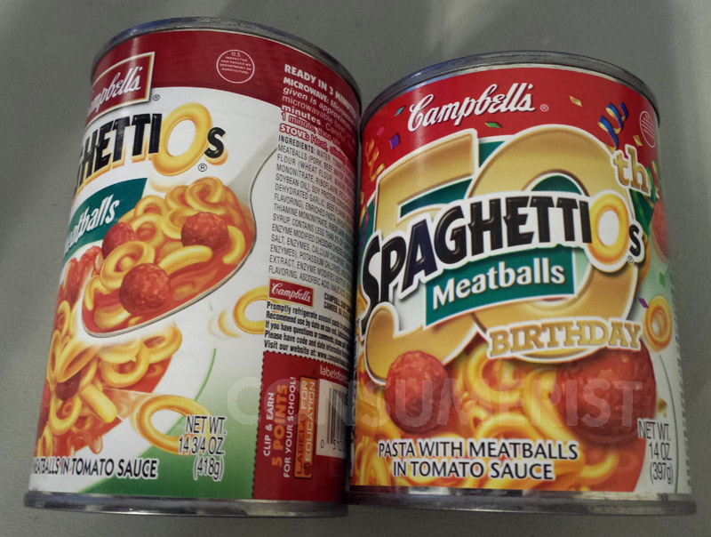 SpaghettiOs Celebrates 50th Birthday By Shrinking Cans To 14 Ounces
