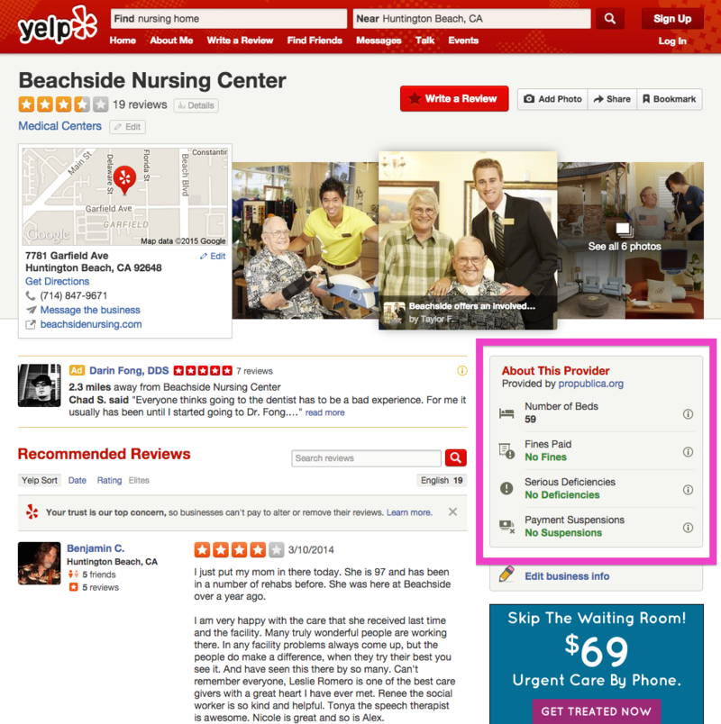 An example of the new statistics users can find for health facilities on Yelp. [via Yelp]