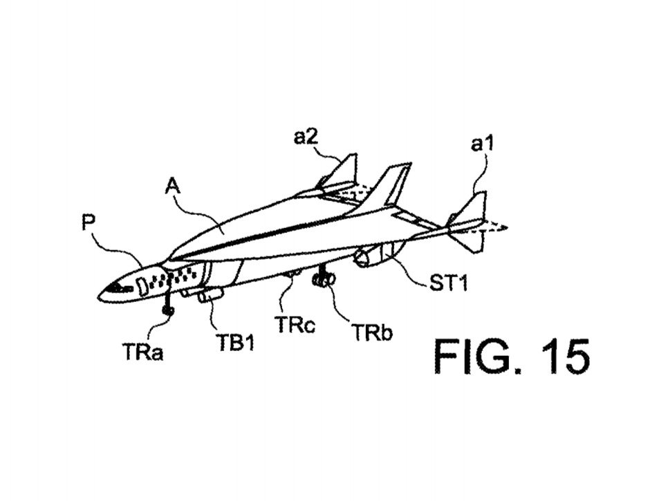 """FIG. 15 represents a perspective view of an ultra-rapid air vehicle according to the invention""(USPTO.gov)"
