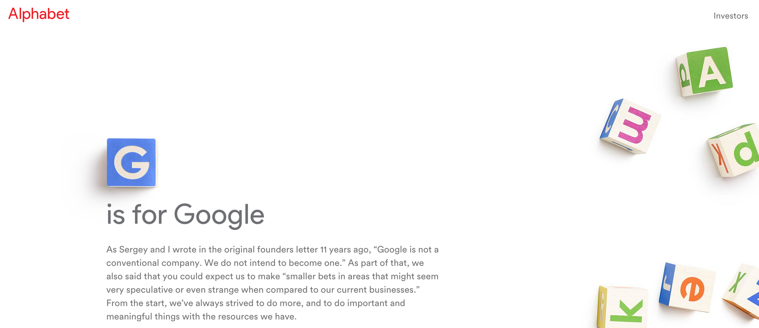 The message posted in August by  Google CEO Larry Page on ABC.xyz, the homepage of Alphabet Inc.