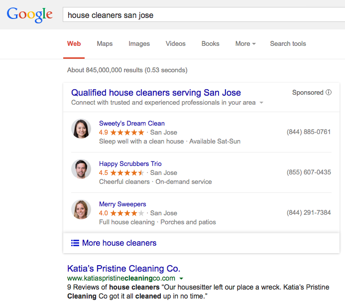 Google provided this example of what its new services ad function will look like.