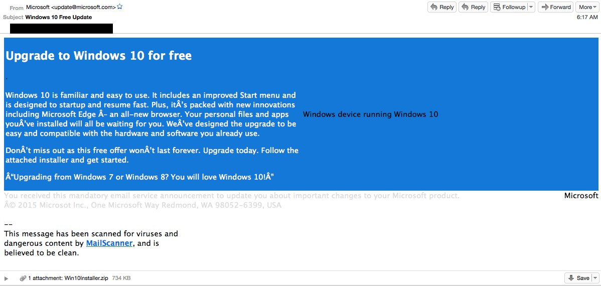 This is what the scam email purporting to be from Microsoft looks like. Don't fall for it.