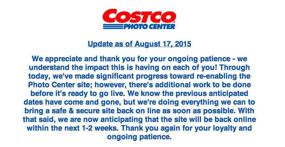 Costco Pushes Back Relaunch Of Online Photo Services Another Month Following July Hack