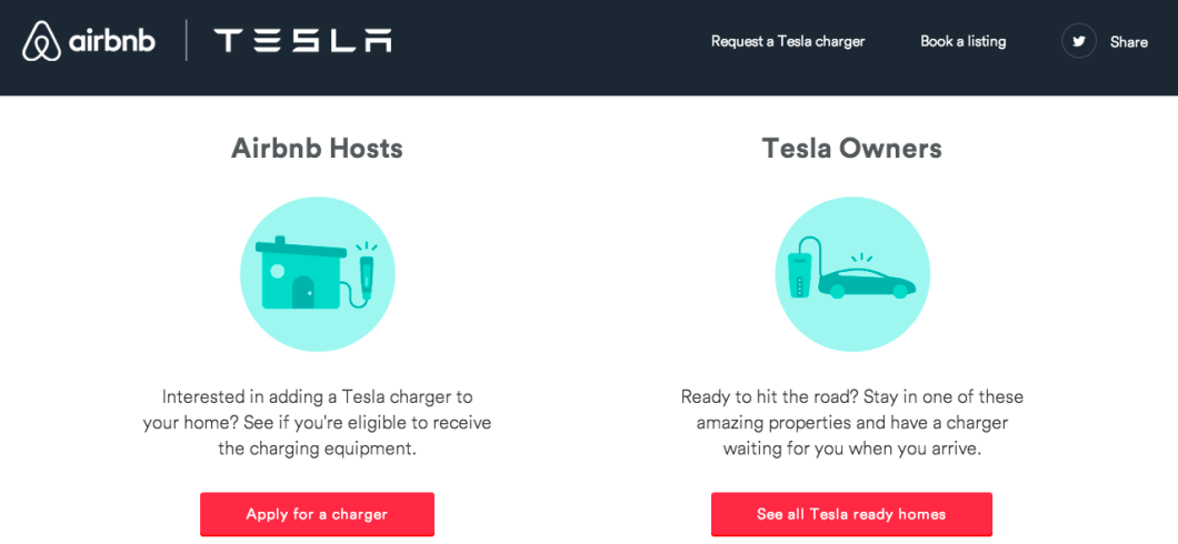 Tesla and Airbnb have teamed up to provide electric car chargers for use by renters.