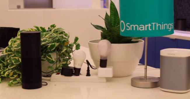 A demo of the new SmartThings/Echo partnership showed users commanding the speaker to turn on and dim lights.