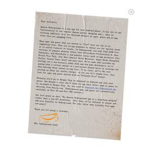 Amazon's letter announcing Underground. [Click to enlarge]