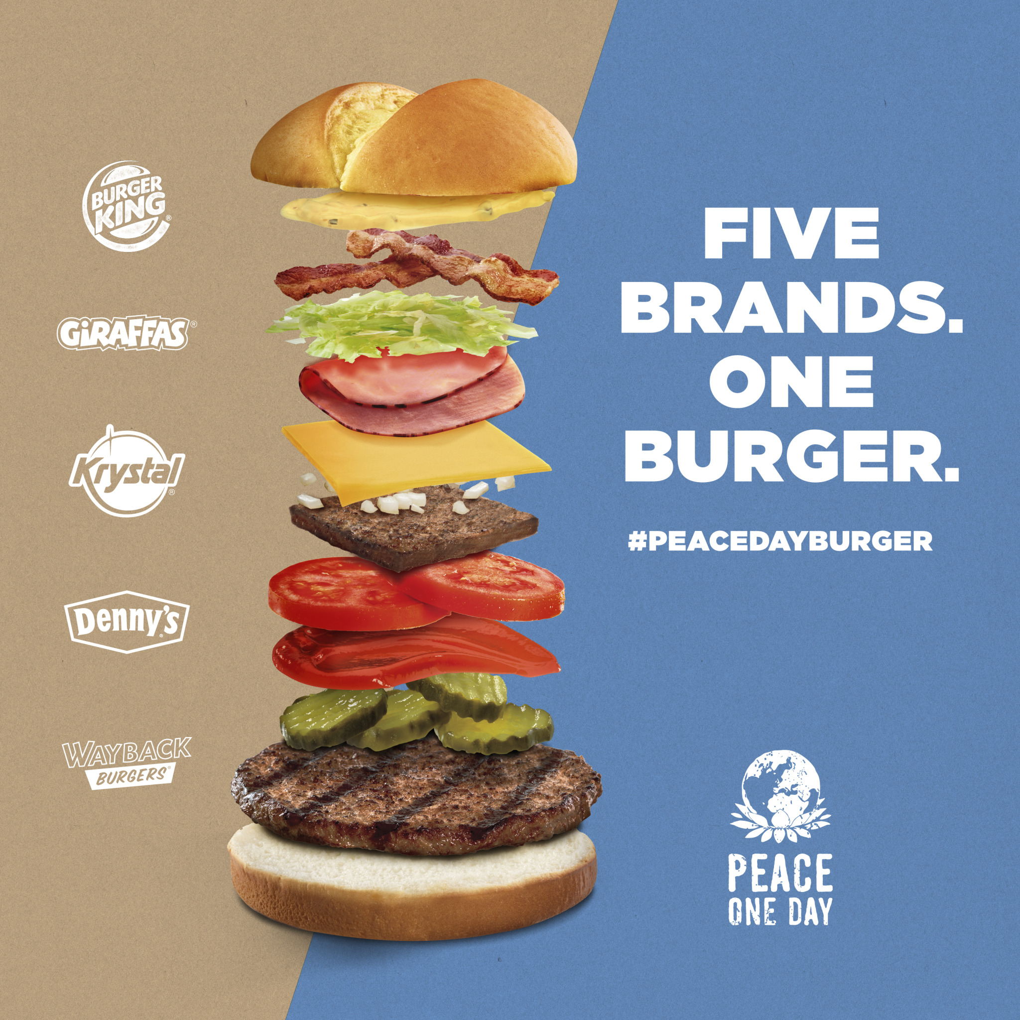 Burger King Teams With Denny's, Krystal & Others To Create Peace Day Hybrid Burger