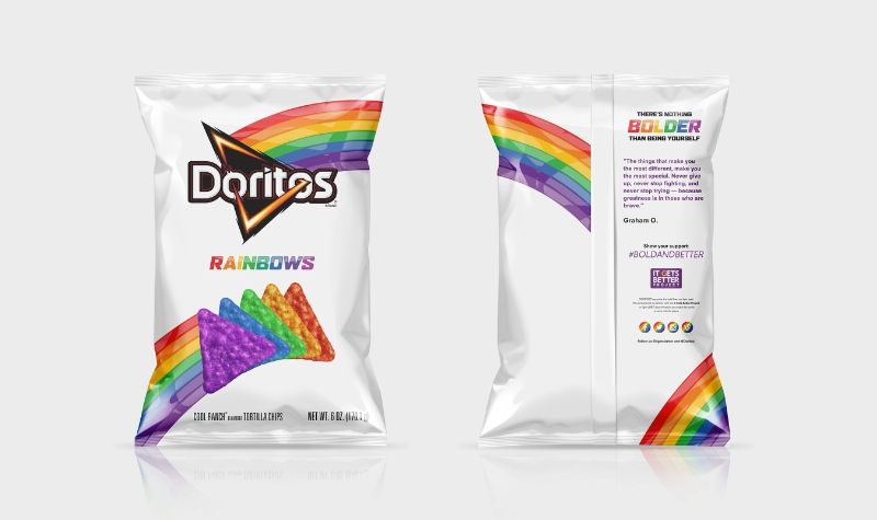 The Doritos brand, in partnership with the It Gets Better Project, launches Doritos Rainbows chips, a new, limited-edition product to celebrate the LGBT community.