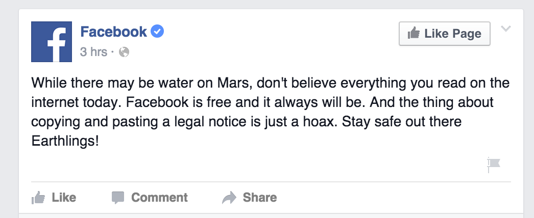 Facebook's official statement on the rumor of a $5.99/month privacy tier.