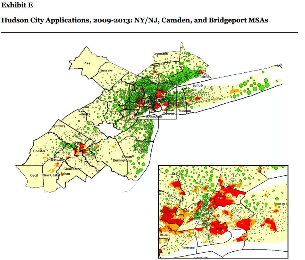 This map shows that, in spite of Hudson's popularity in the region, the bank was doing very little loan business in predominantly black and Hispanic neighborhoods (those areas marked in red and orange on the map).