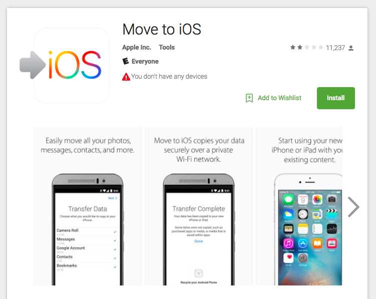 Android Users Give Apple's 'Move To iOS' App Bad Reviews For Some Reason