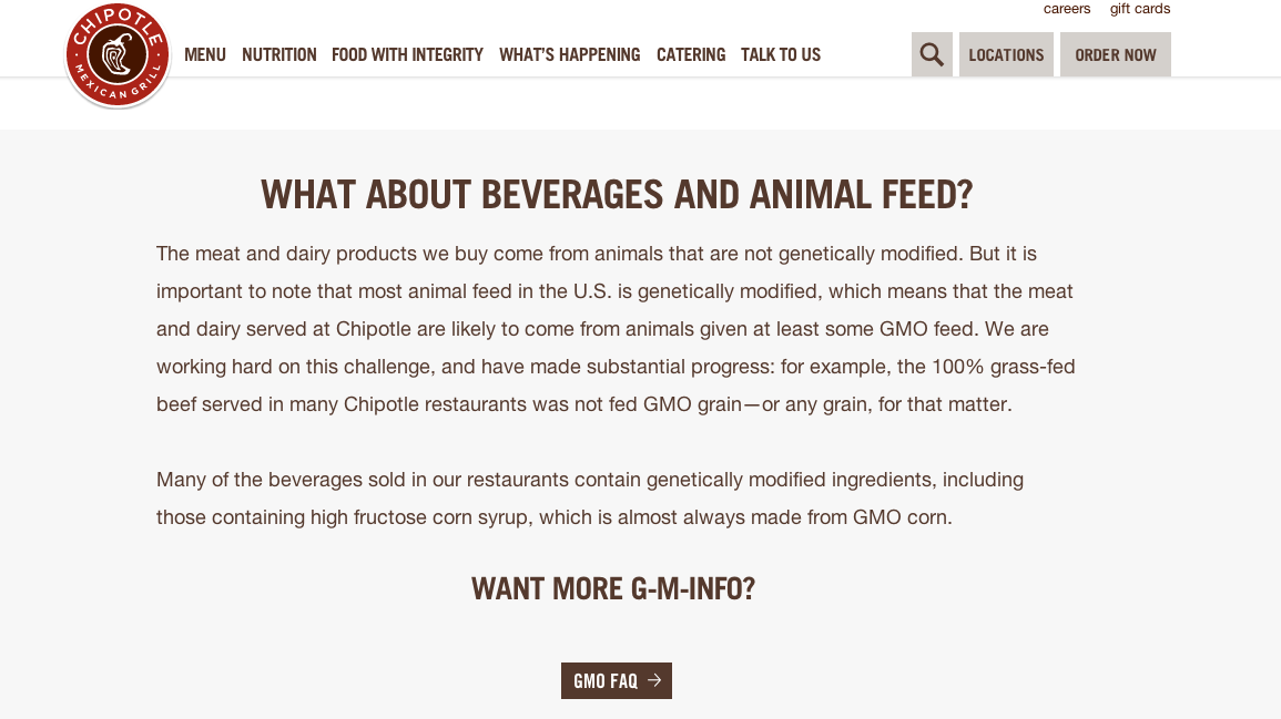 Chipotle's GMO-dedicated page notes that some of its products may not be entirely GMO-free.