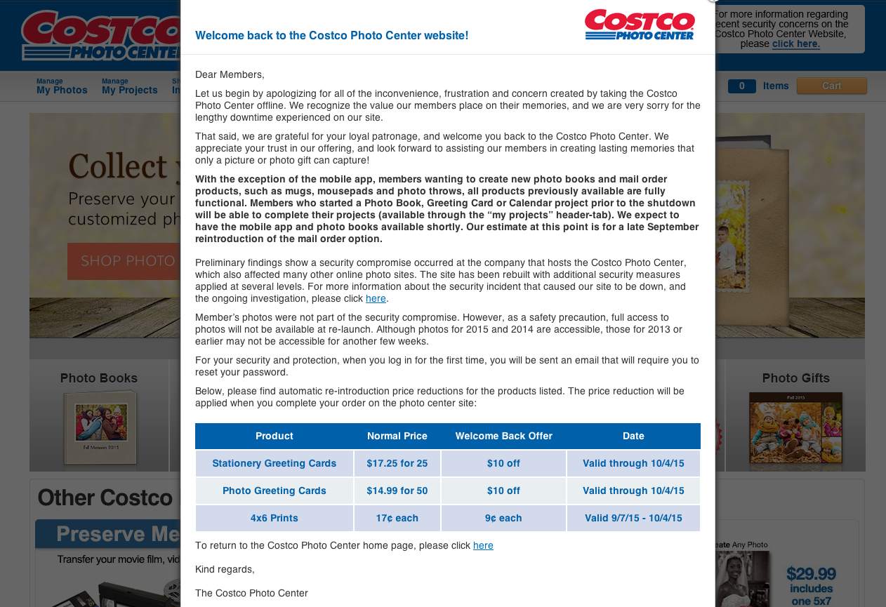 Costco's Online Photo Services Back Up After Breach, Customers' Cards May Have Been Compromised