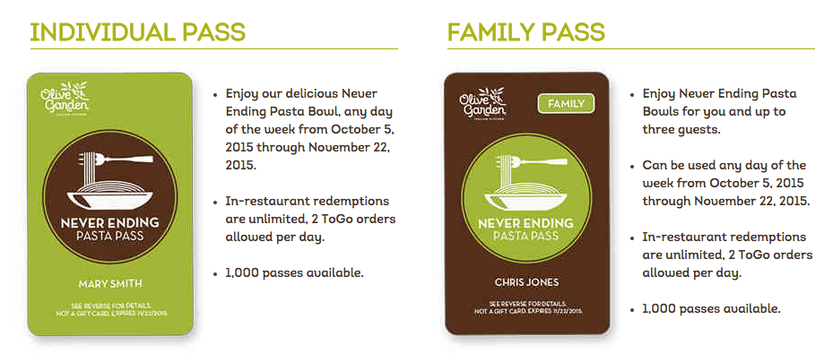 Olive Garden Is Bringing Back The Pasta Pass, Adds Family Option