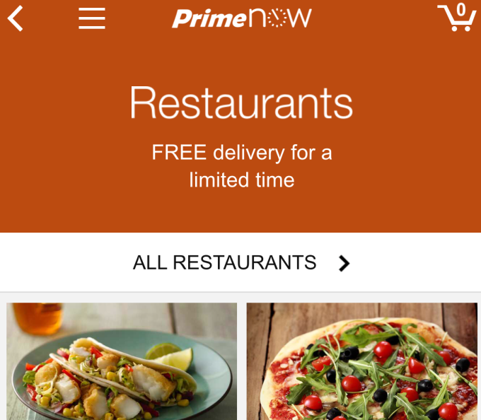 Amazon Expanding Restaurant Delivery Service To All Prime Now Markets