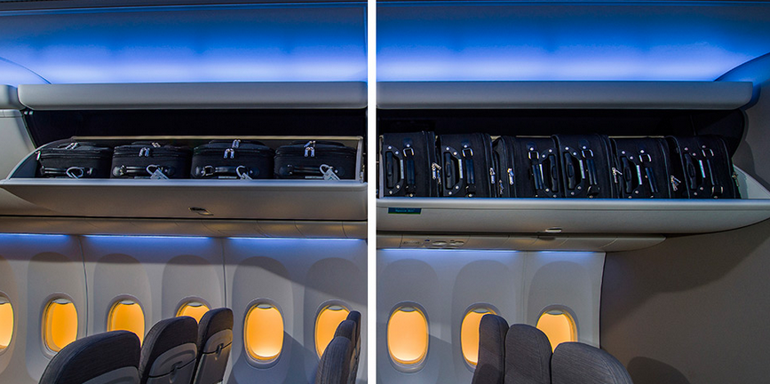 "The new ""space bins,"" featured on the left, can hold two more bags than traditional overhead bins."