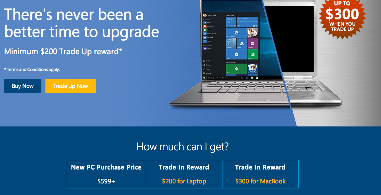 Microsoft Trade-In Program Pays $200 For Your Old Windows Laptop, $300 For A MacBook