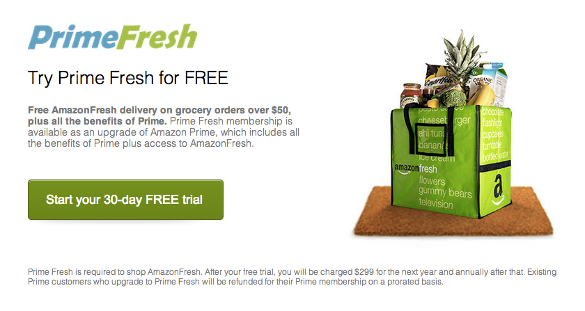 If You Want To Use Amazon Fresh You'll Have To Pay $299/Year For PrimeFresh First