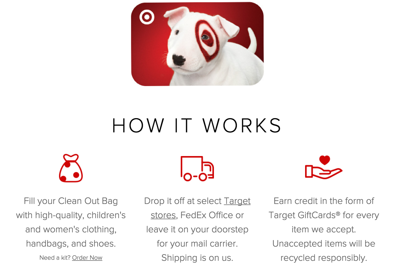 Target partnered with online consignment store ThredUP to offer customers gift card for their old outfits.