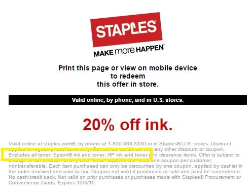 Printer Ink Sale At Staples Excludes Ink For Most Printers
