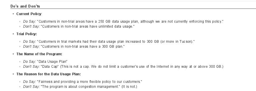 Leaked Comcast Doc Admits: Data Caps Have Nothing To Do With Congestion