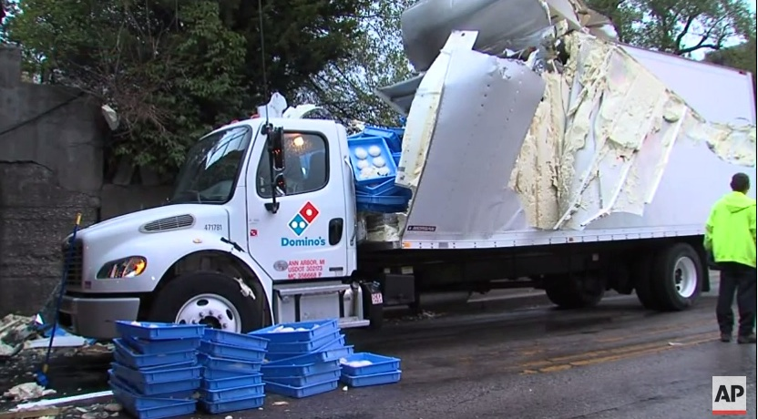 Truck Full Of Domino's Pizza Dough Hits Overpass, Spills Across Road
