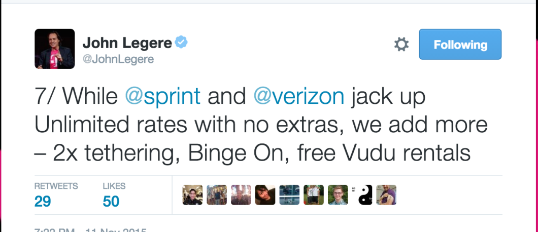 One of Legere's 9 Tweets from last night in response to questions about T-Mobile's new Simple Choice Amped plans.