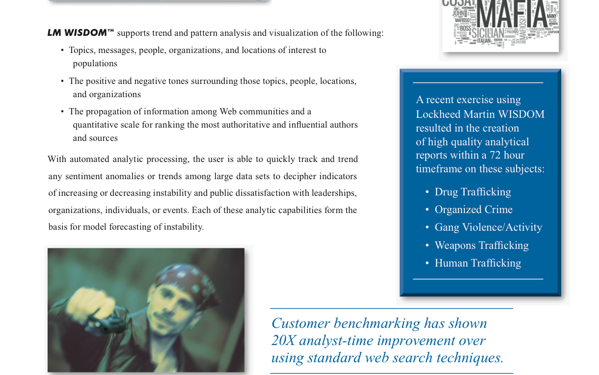 "A section of the Lockheed Martin brochure for its ""LM Wisdom"" product that Walmart used to track dissident employees and pro-union activists in 2012."