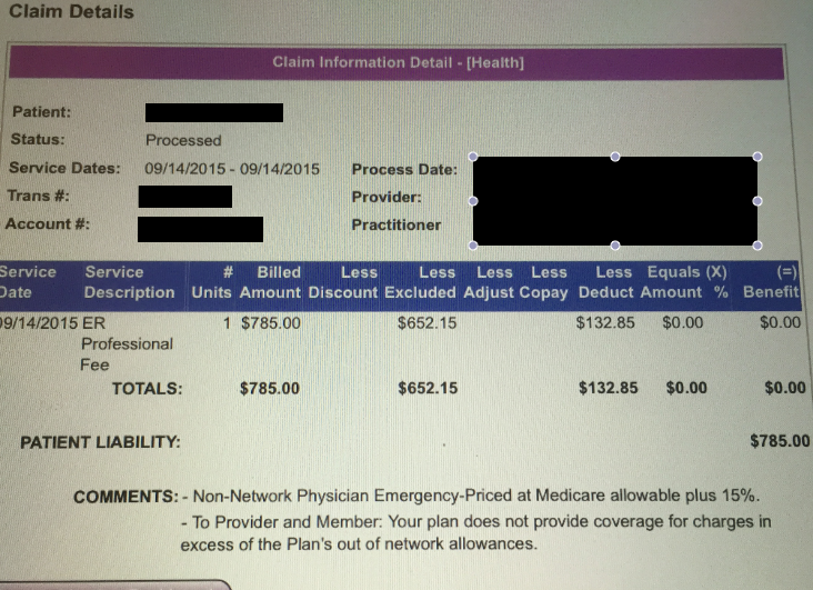 Lillian provided Consumerist with a screenshot of her recent surprise medical bill. She has yet to negotiate the cost with the out-of-network doctor.