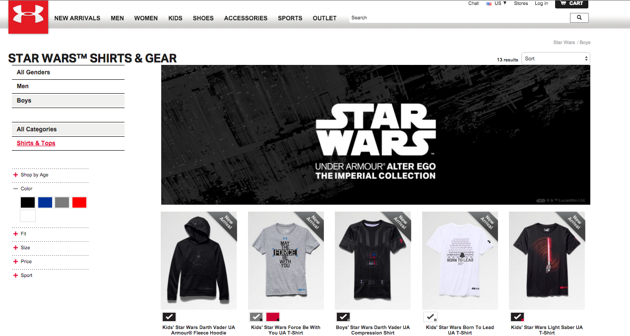 "Apparently Under Armour's 'Star Wars' Clothing For ""All Genders"" Only Includes Men And Boys"