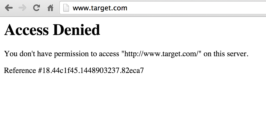The message seen by visitors to Target.com on Monday.
