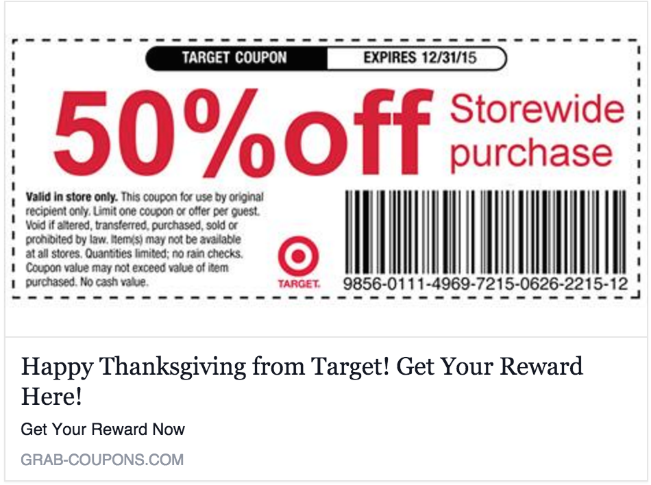 No, Target Is Not Giving You A 50% Off Everything Coupon For Liking A Page On Facebook