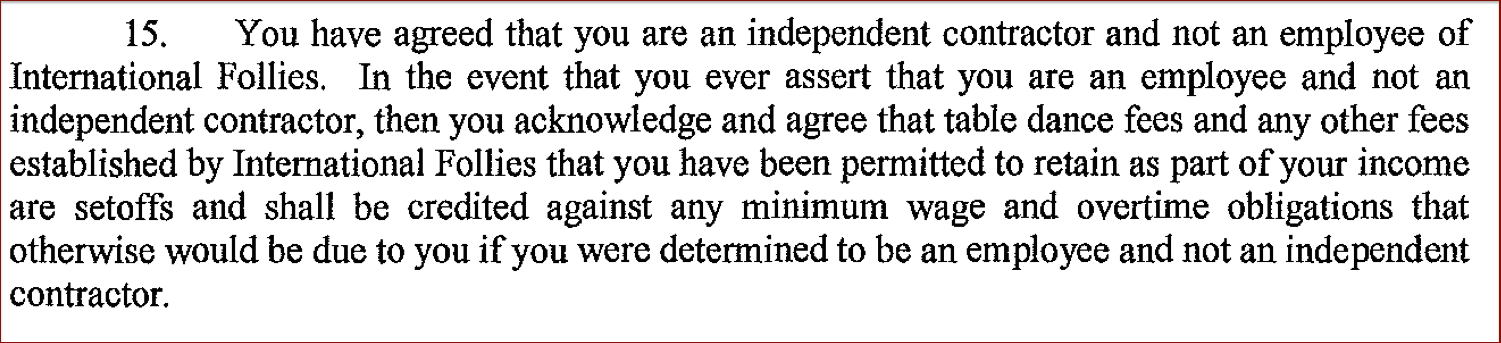 Just one of 18 clauses in the arbitration agreement that some dancers say they were made to sign by the Atlanta club.