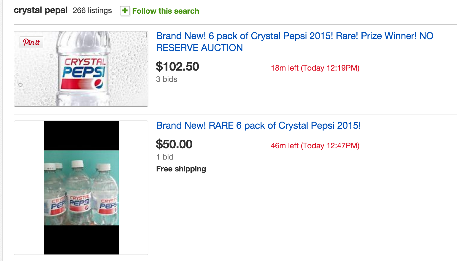 Predictably, Crystal Pepsi Winners Are Already Selling Their Prizes On eBay