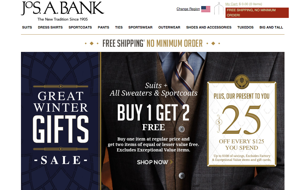 No more three-for-one deals, but BOGO is alive and well on Jos. A. Bank's homepage.