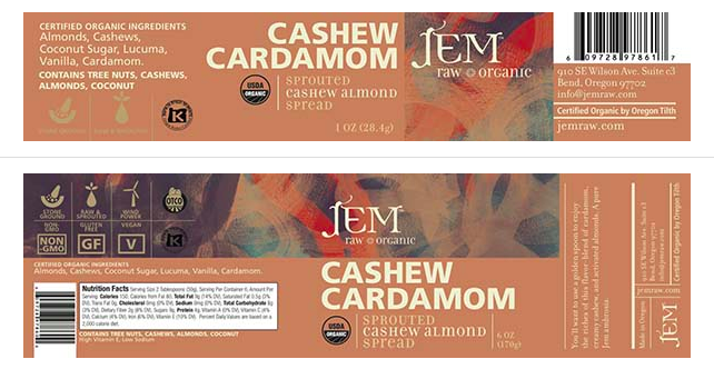 JEM's Cashew Cardamom is just one of 12 types of nut butter spread being recalled.