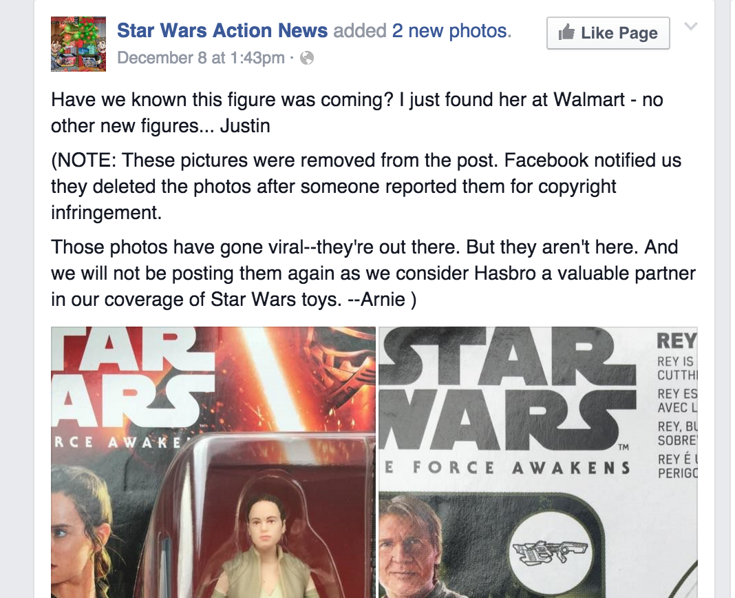 This post on the SWAN Facebook page was hit with a copyright claim by Disney. The claim was initially retracted, but then re-sent by Disney only hours later, resulting in the removal of the entire post.