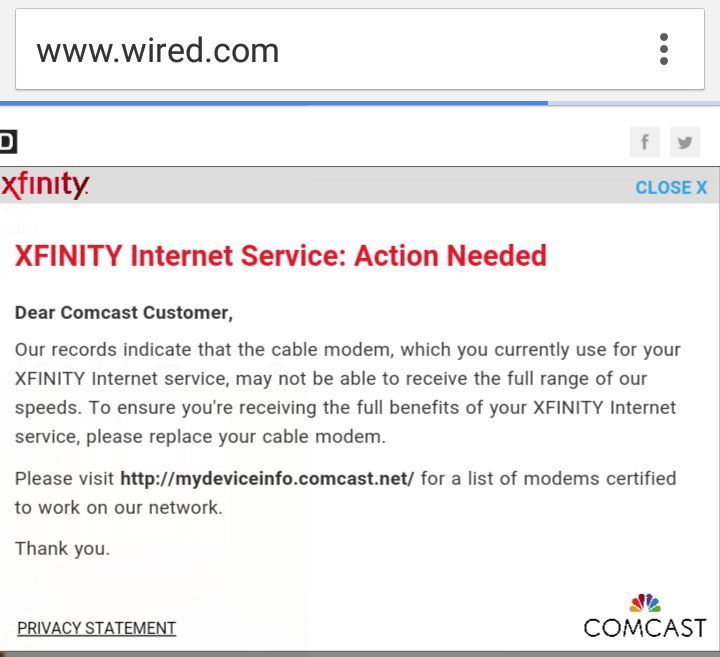 Comcast says that the only way for Consumerist reader BB to stop seeing these pop-up alerts is to upgrade his modem.