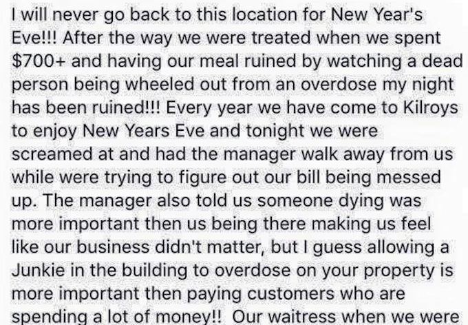 Bar Replies To Customer's New Year's Eve Complaint Of Being Ignored While Fellow Patron Has Heart Attack